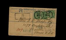 India Registered Letter Envelope UPRATED 1898 - Posted at AGRA to Boston MA USA
