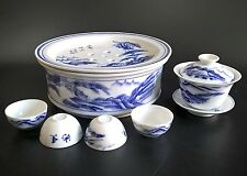 VINTAGE JAPANESE FINE PORCELAIN BLUE & WHITE SAKE TEA SET WARMER 4 CUPS BOWL