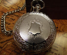 Jacob Strauss Vintage Antique Style Silver Tone Pocket Watch With Chain Gift Box