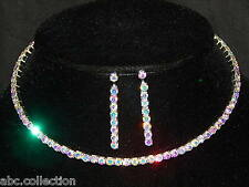 FLEXIBLE AB IRIDESCENT RHINESTONE SINGLE STRAND NECKLACE, EARRINGS SET