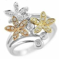 0.25CT DIAMOND FLORAL FLOWER COCKTAIL RIGHT-HAND RING 14K THREE-TONE GOLD