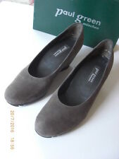 PAUL GREEN Cashmere Taupe Suede High Wedge Pump Shoe Lightly Used 5.5 38.5