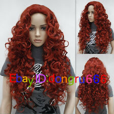 2015 New Ladies fashion Long Curly Red Natural Hair Women's Wigs + wig cap