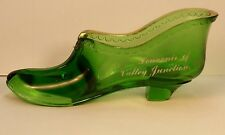 Antique EAPG Souvenir Green Glass Slipper Valley Junction WI Wis Monroe CO Byron
