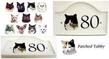 Con Patch Tabby CASA PORTA NUMERO PLACCA in Ceramica con Gatto Porta Firmare QUALSIASI NUMERO