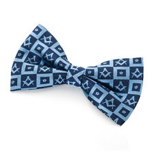 Masonic Silk Forget me Knot  design Bow Tie Blue with multi logos Masons Gift