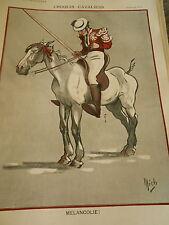 Croquis Cavaliers Mélancolie ! Cheval dessin de Mich Print Art Déco 1907