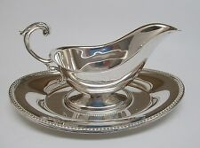Vintage 1980's TOWLE Silverplate GRAVY BOAT and PLATE ~ Excellent