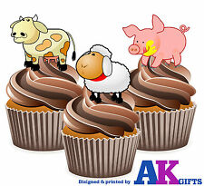 Cartoon Farm Animals - 12 Fun Fully Edible Cup Cake Toppers Childrens Birthday