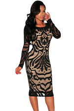 WOMENS BLACK LACE PARTY CLUB WEAR BODYCON MIDI DRESS EVENING PARTY UK SIZE 12 14