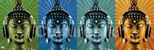 BUDDHA WEARING HEADPHONES - POP ART POSTER - 12x36 MCFLY MUSIC COLORS 0342
