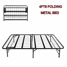 4FT6 Double Folding Guest Bed in Black Fold Up Away Spare Beds Camping Metal Bed