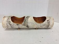 Distressed Rustic Wood Log Candle Flower Table Holiday Centerpiece Holder Basket