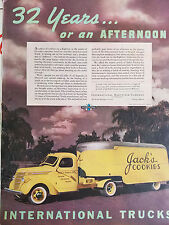 1938 Yellow International Harvesters Truck Company Jacks Cookies Original Ad
