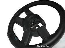 FOR AUDI A4 B7 2005-2008 BLACK GENUINE ITALIAN LEATHER STEERING WHEEL COVER NEW