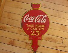 Coca Cola Round Metal Sign Display Rack Topper 2-Sided Vintage Button Bottle