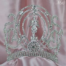 "Gorgeous Queen Crown Women Tiara 6"" Clear Rhinestone Crystal Bridal Pageant Prom"