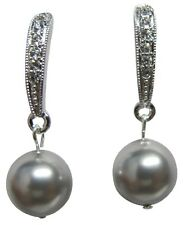 Wedding Earrings Grey Pearl with Diamante Dangling Wedding Diamente jewelry