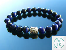 Buddha Blue Tigers Eye Dyed Natural Gemstone Bracelet 7-8'' Elasticated Healing
