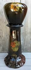 Antique Weller Louwelsa Art Pottery Jardiniere on Stand Glossy Dark Brown Floral