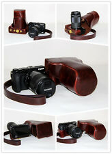 Coffee camera leather case bag cover for Canon EOS M3 with 18-55mm lens kit  New