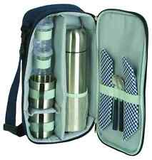 PICNIC COFFEE TRAVEL BAG SET FOR TWO 2 STAINLESS STEEL THERMAL VACUUM FLASK MUG