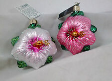 HIBISCUS Flower Pink and White Set of 2 Glass Ornament Old World Christmas NEW