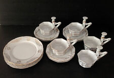 Antique CUPS SAUCERS DESERT PLATES Gentleman Top Hat Handle Mepoco Japan H