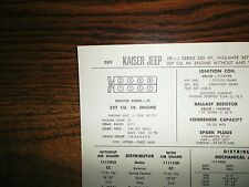 1967 Kaiser Jeep Series J Models 327 CI V8 SUN Tune Up Chart Great Condition!