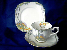 "ROYAL ALBERT CROWN CHINA TRIO WITH CROCUS PATTERN TITLED ""AUTUMN CROCUS"""