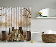 Pier on Lake Autumn Trees Fabric Shower Curtain Digital Art Bathroom