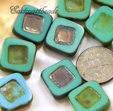 Carved Square Beads~Blue&Green w/Picasso Metallic Finish 14mm Czech Beads 5 Pcs