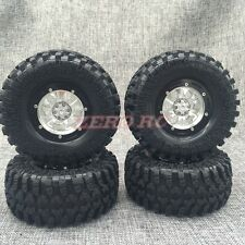 "RC 1/10 TRUCK RIMS 2.2"" ROCK CRAWLER BEADLOCK ALUMINUM Wheels + 130mm Tires (4)"