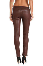 $228 NEW Citizens of Humanity Racer Low Rise Skinny, Bhutan Red Leatherette 24