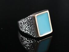 TURKISH HANDMADE TURQUOISE STERLING SILVER 925K MEN'S RING SIZE 10