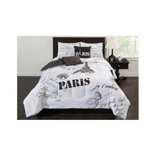 French Script Bedding Set Comforter Full Eiffel Tower Paris Black White Teen 5pc