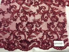 Burgundy Corded Flowers Embroider With Sequins On A Mesh Lace Fabric-prom-yard--