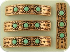 2 Hole Beads Faux Turquoise Aztec Southwest Pattern ~ Copper Bars Sliders QTY 4