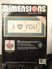 DIMENSIONS - COUNTED CROSS STITCH KIT - LOVE -KIT #3770 -  NIP/UNOPENED!!