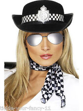 WOMENS POLICE WOMAN FANCY DRESS AVIATOR GLASSES & HAT LADIES POLICEWOMAN COP WPC