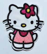 Hello Kitty Pink Flower FABRIC EMBROIDERED IRON ON APPLIQUE PATCH Brand New