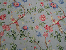 Scalamandre Fabric 'Orienteaux'  Rose and Blue on Glacier Blue 8.7 METRES Linen