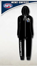 Collingwood Magpies AFL Mens Adult Black Printed Hooded Onesie Pyjama Size L New