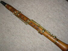 "Small, very old open hole Eb (?) Clarinet, ""Rott Prag"" BROWN WOOD, BRASS KEYS!"