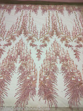 Dusty Pink Embroidery Beaded Rhinestones Lace Fabric Dress Gown Bridal 1 Yard
