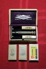 Rare 1916 Gillette Silver Plated Aristocrat Flare/Bell Handle Safety Razor Set