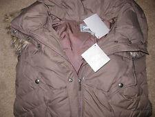 NEW NWT Womens Down Parka Coat Fur Hood XL L Brown 650 Fill Power Long Jacket