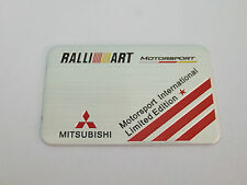 RALLIART MOTORSPORT INTERNATIONAL LIMITED EDITION BADGE EMBLEM PLAQUE LANCER EVO