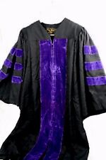 Oak Hall Academic Doctoral Gown Black w/ Purple Velvet Accent, Sz 3 (5'9 - 5'11)