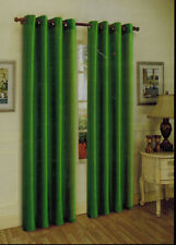 "2 PANELS dark green FAUX SILK  8 GROMMET WINDOW CURTAIN DRAPES 95"" LENGTH"